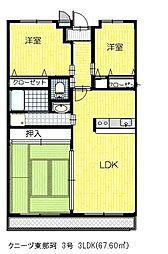 クニーヅ東那珂[4階]の間取り