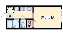 JR播但線 野里駅 徒歩29分の賃貸アパート 2階1Kの間取り