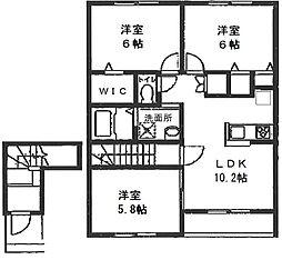 西鶴間KIガーデンズ 弐番館[205号室号室]の間取り