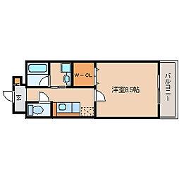 阪神本線 出屋敷駅 徒歩8分の賃貸マンション 5階1Kの間取り