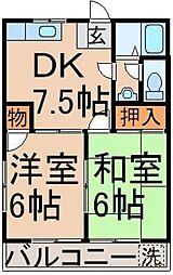 コーポ岸田[202号室]の間取り
