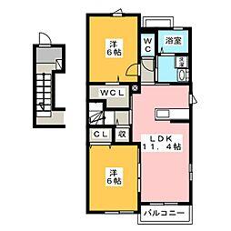 静岡県静岡市葵区瀬名6丁目の賃貸アパートの間取り