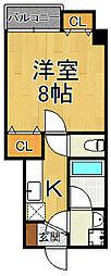 (仮称)ラウレア2 6階1Kの間取り