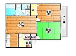 プレジール樫山 A棟[2階]の間取り