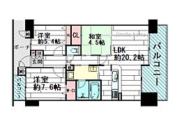 桃山台ロジュマンパークビュー[6階]の間取り