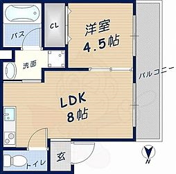 ディアコート岩田 3階1LDKの間取り