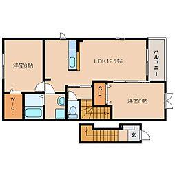 静岡県藤枝市田中の賃貸アパートの間取り
