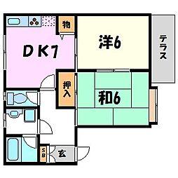ハイツ平野[1階]の間取り