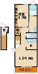 兵庫県明石市西明石東町の賃貸アパートの間取り
