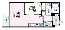 月光江波東参番館 2階1LDKの間取り