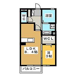 KM(ケープラスエム) 2階1LDKの間取り