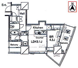 ルミナリータワー池袋[1205号室]の間取り