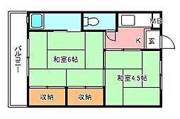 ビレッジハウス南野田[1階]の間取り