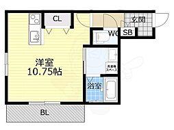 阪急神戸本線 王子公園駅 徒歩9分の賃貸アパート 1階ワンルームの間取り