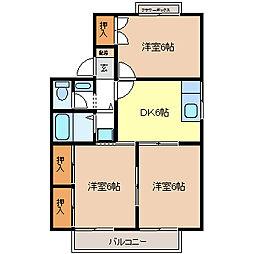 屋代ハイツB棟[1階]の間取り