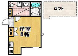 ドエル梅香V 2階ワンルームの間取り