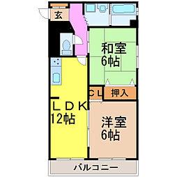 愛知県名古屋市昭和区川名山町1丁目の賃貸マンションの間取り