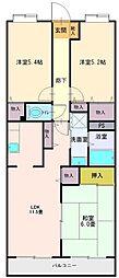 埼玉県富士見市ふじみ野東1丁目の賃貸マンションの間取り