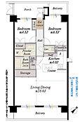 間取図/6階部分南東角部屋 専有面積73.98m2 バルコニー免責15.52m2