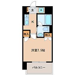 エルスタンザ広瀬通 RESIDENCE 4階1Kの間取り
