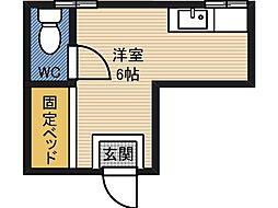 ハマダハウス 1階ワンルームの間取り