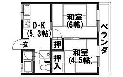 中野ハイツ[201号室]の間取り