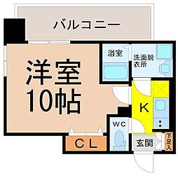 名古屋市営名城線 矢場町駅 徒歩3分の賃貸マンション 6階1Kの間取り