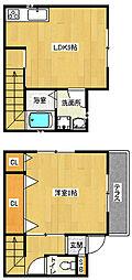 京都市営烏丸線 北大路駅 徒歩11分の賃貸アパート 1階1LDKの間取り