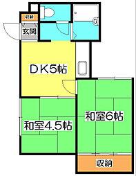 埼玉県志木市本町2丁目の賃貸アパートの間取り