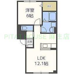 JR学園都市線 八軒駅 徒歩9分の賃貸アパート 1階1LDKの間取り