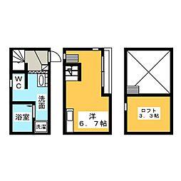Dream Stage HT Iwakura 1階ワンルームの間取り