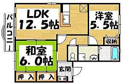 福岡県大野城市牛頸2丁目の賃貸アパートの間取り