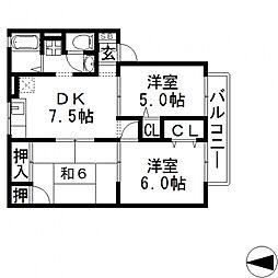 ディアコートS A棟[A205号室号室]の間取り