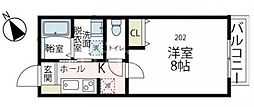 (仮称)フィカーサ鶴川 2階1Kの間取り