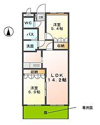 愛知県北名古屋市熊之庄江川の賃貸アパートの間取り