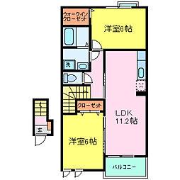 兵庫県加古川市平岡町土山字北畑の賃貸アパートの間取り