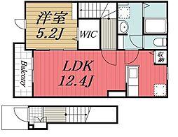JR内房線 木更津駅 バス21分 金田中島下車 徒歩5分の賃貸アパート 2階1LDKの間取り