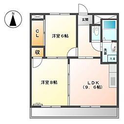 愛知県清須市西市場3丁目の賃貸マンションの間取り