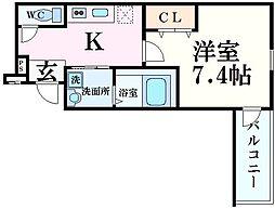 阪急神戸本線 西宮北口駅 徒歩9分の賃貸アパート 1階1Kの間取り