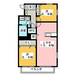 リバーサイド桜[1階]の間取り