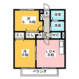 サンガーデン広住[2階]の間取り