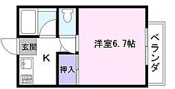 ハスアーユ 2階1Kの間取り