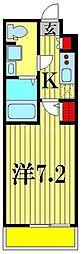 (仮称)レオーネ亀有WEST 2階1Kの間取り