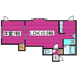北海道札幌市東区北丘珠四条2丁目の賃貸アパートの間取り