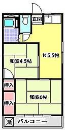 フタバコーポ[2階]の間取り