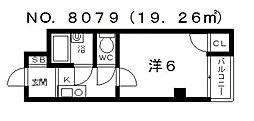 サンロイヤル谷町[4階]の間取り