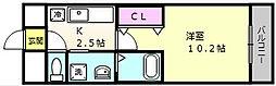 コーポ福知苑III[202号室]の間取り