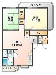 羽曳野ロイヤルハイツ[3階]の間取り