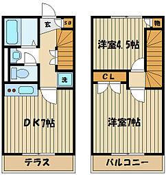 [タウンハウス] 東京都府中市分梅町3丁目 の賃貸【/】の間取り