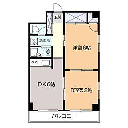 グレースヒル 3階2DKの間取り